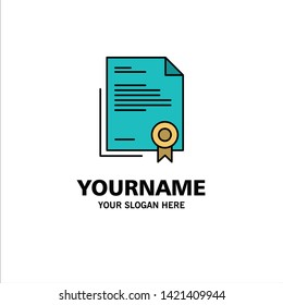 Certificate, Business, Diploma, Legal Document, Letter, Paper Business Logo Template. Flat Color