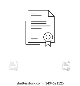 Certificate, Business, Diploma, Legal Document, Letter, Paper Bold and thin black line icon set