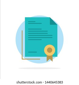 Certificate, Business, Diploma, Legal Document, Letter, Paper Abstract Circle Background Flat color Icon