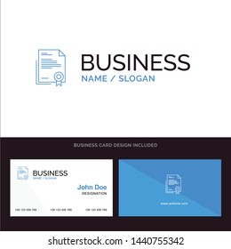 Certificate, Business, Diploma, Legal Document, Letter, Paper Blue Business logo and Business Card Template. Front and Back Design