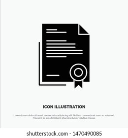 Certificate, Business, Diploma, Legal Document, Letter, Paper solid Glyph Icon vector. Vector Icon Template background