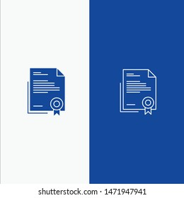 Certificate, Business, Diploma, Legal Document, Letter, Paper Line and Glyph Solid icon Blue banner Line and Glyph Solid icon Blue banner