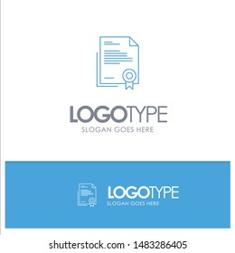 Certificate, Business, Diploma, Legal Document, Letter, Paper Blue outLine Logo with place for tagline
