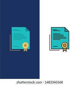 Certificate, Business, Diploma, Legal Document, Letter, Paper  Icons. Flat and Line Filled Icon Set Vector Blue Background