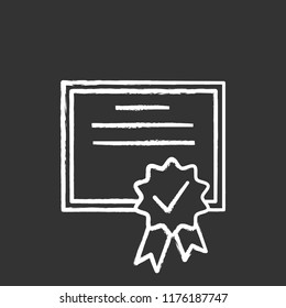 Certificate chalk icon. Diploma. Quality certificate. Award. License. Isolated vector chalkboard illustration
