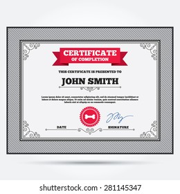 Certificate of completion. Dog bone sign icon. Pets food symbol. Template with vintage patterns. Vector