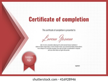 Certificate of completion with halftone background and border. Stock vector.