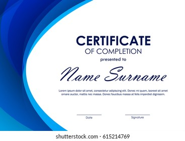 Certificate of completion template with blue futuristic wavy background. Vector illustration
