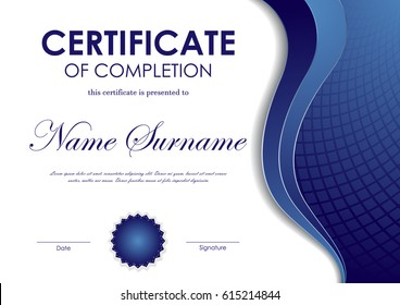 Certificate of completion template with blue wavy mosaic surface background and seal. Vector illustration