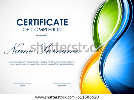 certificate completion template colorful shiny wavy stock vector