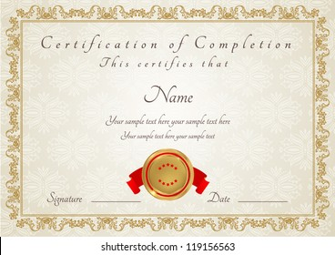Certificate of completion template. Diploma
