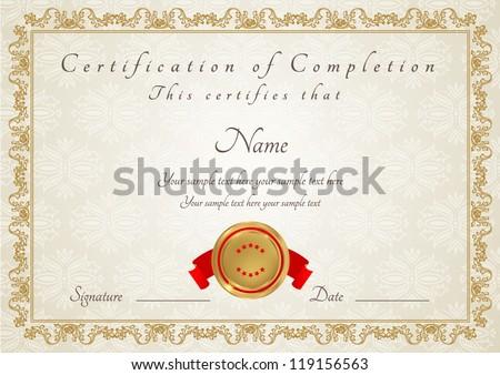 Certificate Completion Template Diploma Stock Vektorgrafik