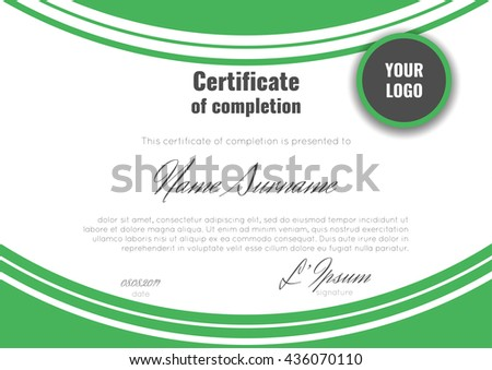Certificate Completion Template Geometric Abstract Background Stock