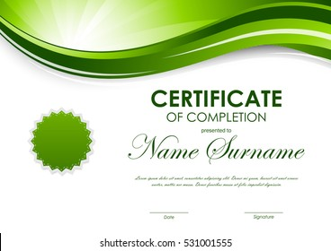 Certificate of completion template with green dynamic light wavy swirl background and seal. Vector illustration