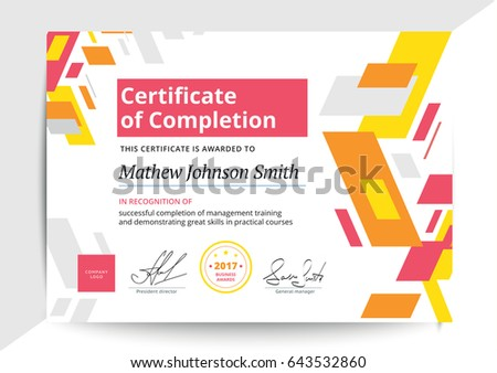 Certificate Completion Template Modern Design Business Stock Vector
