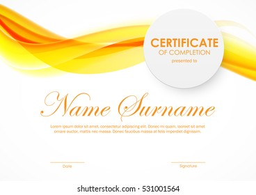 Certificate of completion template with orange bright soft smoky wavy background and paper circle badge. Vector illustration