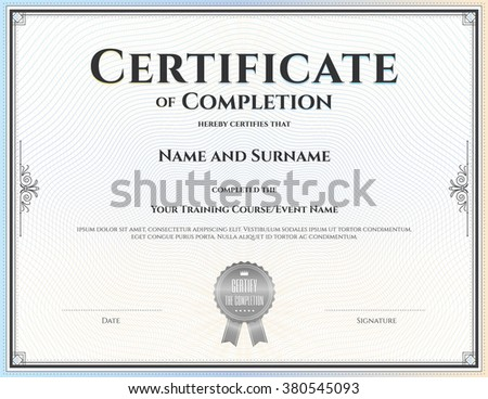 Certificate Completion Template Vector Achievement Graduation Stock