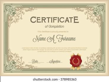 Certificate of Completion Vintage Floral Frame. Green.