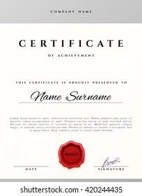 Certificate design border frame. Template  achievement diplom.  Premium paper present guilloche