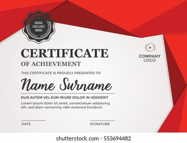 Certificate design - diploma template  - modern layout in red tones
