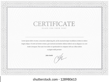 Certificate. Design Gray. Vector pattern that is used in currency and diplomas