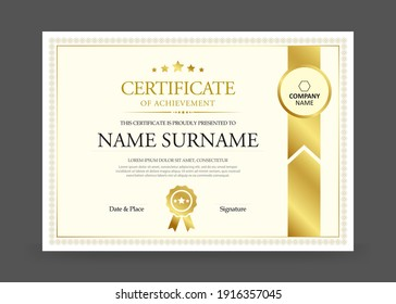 Certificate design with modern border template. Clean simple certificate with gold badge.