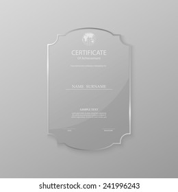 Certificate design template on glass frame