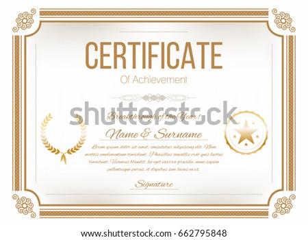 certificate design template retro certificate diploma stock vector