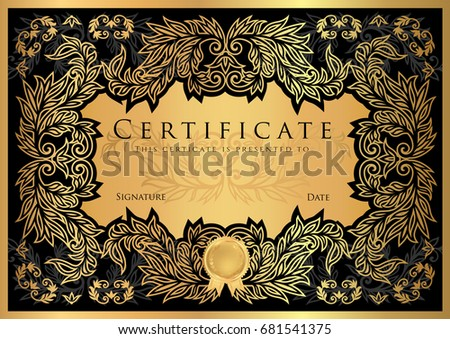 Certificate, Diploma of completion (black design template, dark background) with floral, filigree pattern, scroll border, frame. Gold Certificate of Achievement, coupon, award, winner certificate