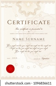Certificate, Diploma of completion (design template, white background) with Frame, Border, light Guilloche pattern (watermark) and red emblem