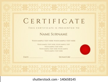 Certificate / Diploma of completion (design template / sample background) with guilloche pattern (watermark), border, wax seal. Useful for: Certificate of Achievement, Certificate of education, awards