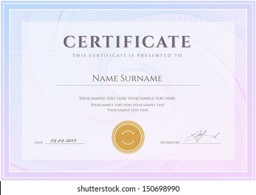 Certificate, Diploma of completion (design template, background) with guilloche pattern (watermark), border, frame. Useful for: Certificate of Achievement, Certificate of education, awards, winner