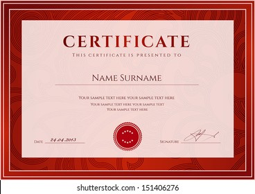 Certificate, Diploma of completion (design template, background). Floral (scroll, swirl) pattern (watermark), border, frame. Red Certificate of Achievement, Certificate of education, awards, winner