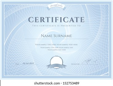 Certificate, Diploma of completion (design template, background) with guilloche pattern (watermark), border, frame. Blue Certificate of Achievement, Certificate of education, coupon, awards, winner