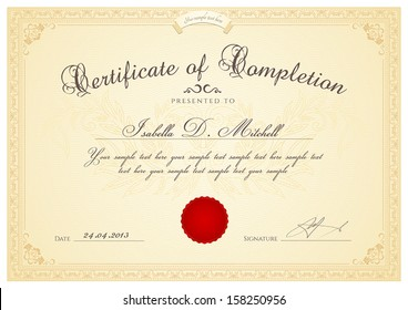 Certificate, Diploma of completion (design template, background) with guilloche pattern (watermark, rosette), border, frame.