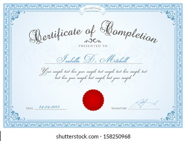 Certificate, Diploma of completion (design template, background) with guilloche pattern (watermark, rosette), blue border, floral frame.