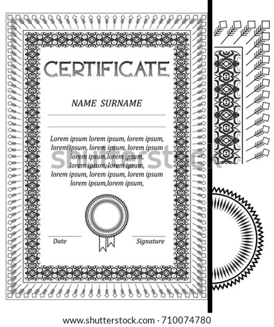 Certificate Diploma Frame Document Photo Black Stock Vector (Royalty ...