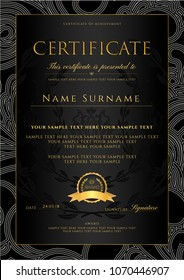 Certificate, Diploma (golden design template, background with floral, filigree pattern, scroll border, gold frame. Certificate of Achievement, coupon, award, winner certificate