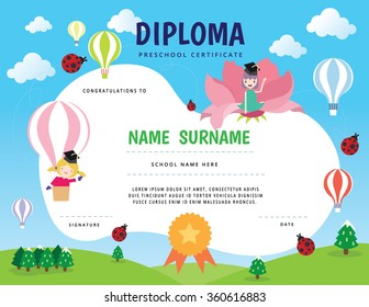 Certificate diploma with Kids and animal concept. Vector Illustration.