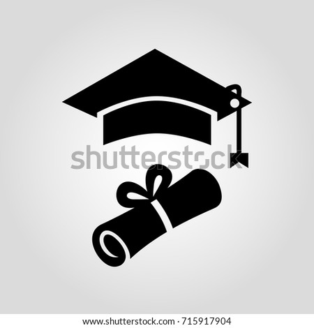 certificate diploma paper square graduation cap stock vector