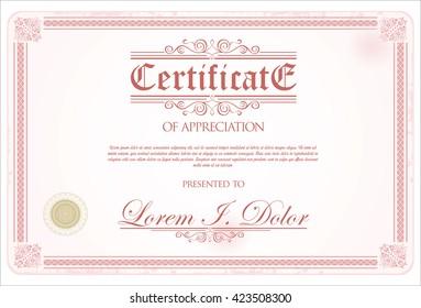 Certificate or diploma retro vintage template design