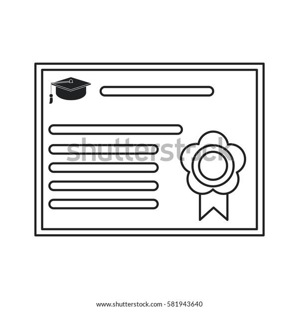 certificate diploma school icon thin line