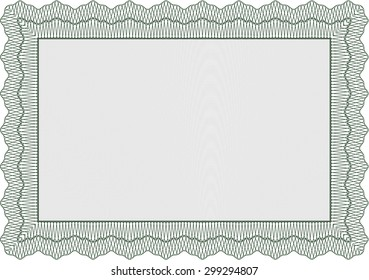 Certificate or diploma template. Artistry design. With guilloche pattern and background. Detailed.