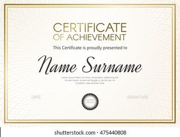 Certificate or diploma template with elegant golden design. Vector illustration.