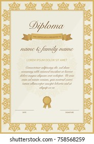 Certificate of diploma template with golden floral design.