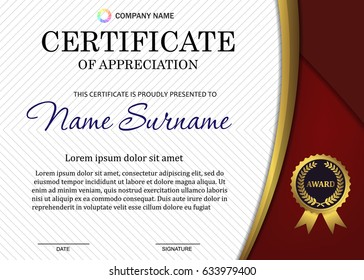 certificate or diploma template with luxury pattern,and award symbol,Vector illustration