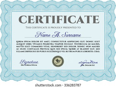 Certificate or diploma template. Money style.With great quality guilloche pattern. Cordial design.
