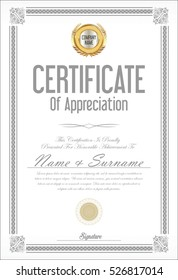 Certificate or diploma template retro design