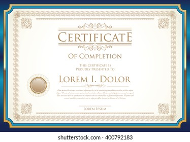 Certificate or diploma template retro vintage design