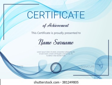 Certificate or diploma template. Vector illustration.